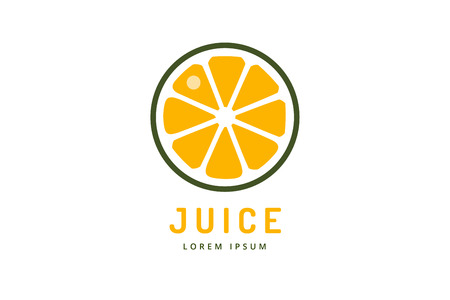 Lime or lemon fruit drink logo icon template design. Orange juice. Fruit slice. Fresh juice drink, yellow, splash and vegetarian, cold. Stock vector