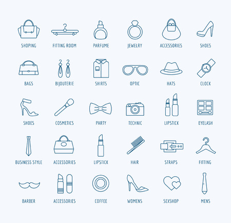men: Clothes and fashion icons set. Bag, girls shop, shopping symbols, store, cosmetics, beauty, woman, button, eye, dress. Interface elements. Stock illustration