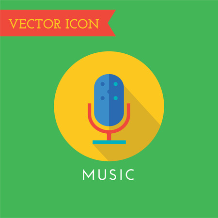 music logo: Microphone icon logo. Sound, music tools, dj, party, musician, song, record studio, label, cd, play, microphone, headphone, volume, equalizer. Music logo. Music icon
