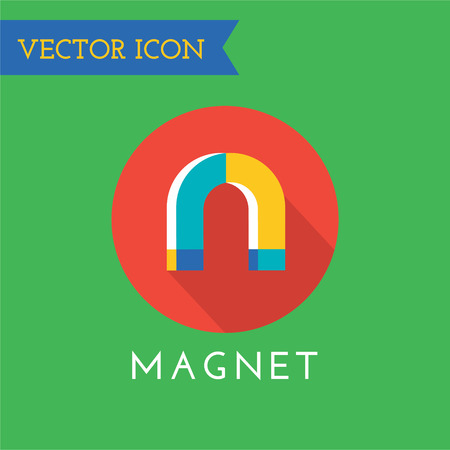 magnetization: Magnet icon logo. Technology, money or commerce and mobile symbols. Poles, power, red, retro, school, science, shape, sign, steel, symbol, technology, tool. Stock Photo