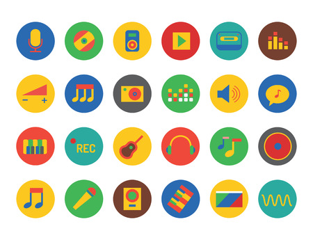 record studio: Music icons set. Sound, music tools, dj, party, note, musician, song, record studio, label, cd, guitar, microphone, headphone, piano, volume chart, equalizer. Music logo. Music icons