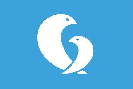birds nest: Dos p�jaros logo icono de plantilla Vectores