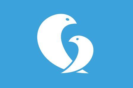 bird: Two birds logo icon template Illustration