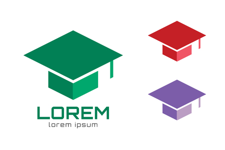 graduacion: Casquillo de la graduación logo icono de plantilla
