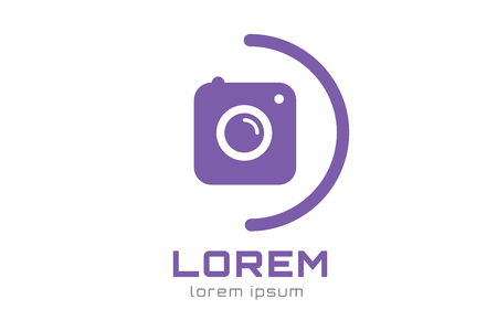 digital camera: Photo camera logo icon template Illustration