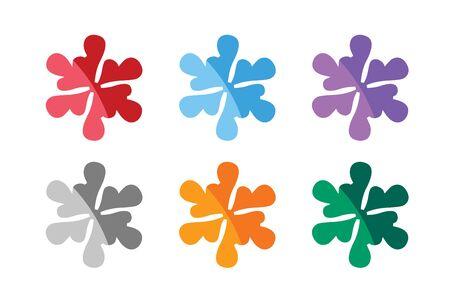 copo de nieve: Copo de nieve shape vector iconos Conjunto de la insignia