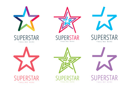 Star vector logo icon template set Vettoriali