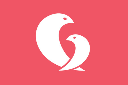 mothercare: Two birds logo icon template Illustration