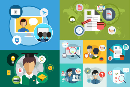 online education: Online education vector icons. Webinar and school. Office life, work. University courses. Students, people silhouette and online education objects. Man silhouette. Abstract people. Teambuilding. Group of people. School
