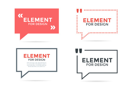 Quote blank template set. Quote bubble. Empty template. Circle business card template, paper sheet, information, text. Print design. Quote form. Template vector set Illustration