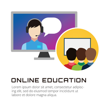 teambuilding: Online education vector icons. Webinar, school, university courses. Students, people silhouette and online education objects. Man silhouette. Abstract people. Teambuilding. Group of people. School