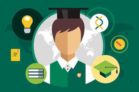 GRADUADO: Silueta del Estudiante y objetos de educación. De vuelta a la escuela. Casquillo de la graduación o sombrero, libros, hoja de papel, documentos y lápiz, escudo, lámpara, diploma. Silueta del hombre. Icono de Estudiante.