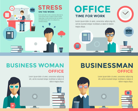 employee: New job search and stress work infographic. Cv, head hunters, job search, new work. Labor Day. Office life and business man. Business situation. People in action. Computer, table, books, clock