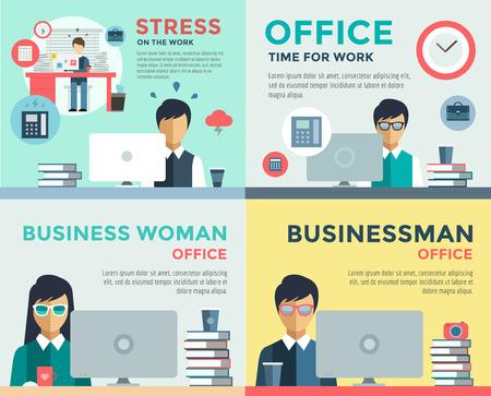 Nieuwe zoektocht naar werk en stress werk infographic. Cv, headhunters, zoeken naar werk, nieuw werk. Arbeidsdag. Kantoor leven en het bedrijfsleven man. Bedrijfssituatie. Mensen in actie. Computer, tafel, boeken, klok
