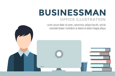 Businessman silhouette. Business man work infographic. People at work. Labor Day. Office life and business man. Business situation. People in action. Computer, table, books, clock. Business man icon