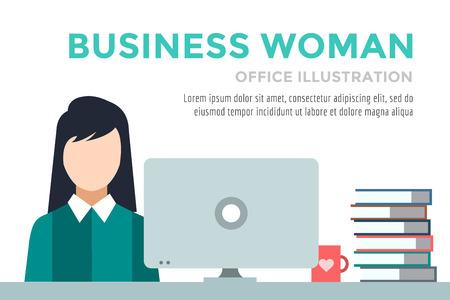 女性実業家: ビジネス女性のシルエット。実業家の仕事インフォ グラフィック。職場の人々。労働者の日。オフィスの生活やビジネスの女性。ビジネスの状況。アクションの人々。コンピューター、テーブル、書籍、時計。ビジネス女性アイコン  イラスト・ベクター素材