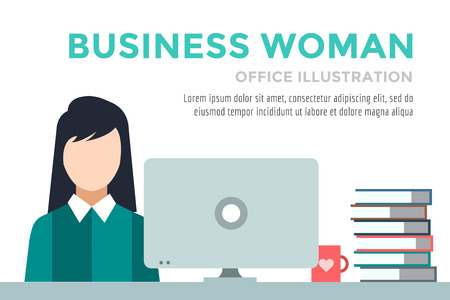 Business woman silhouette. Businesswoman work infographic. People at work. Labor Day. Office life and business woman. Business situation. People in action. Computer, table, books, clock. Business woman icon Ilustracja