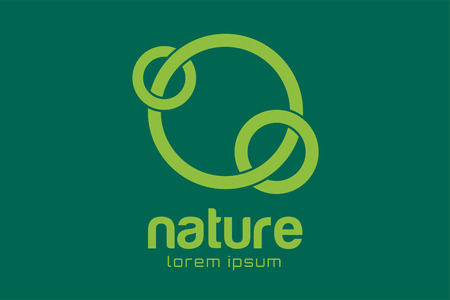 ring: Green nature care togetherness logo. Togettherness logo. Care and nature logo. Abstract flow logo template. Round ring shape and infinity loop symbol, thin line. Company logo design. Vector logo element.
