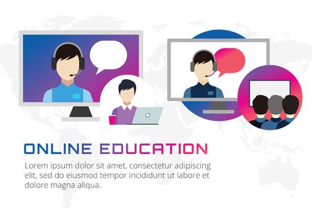 distance: Online education illustration. Webinar, school, university courses. Students, people silhouette and online education objects. Man silhouette. Abstract people. Teambuilding. Group of people. School