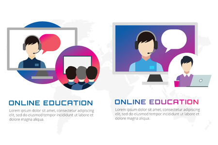 teambuilding: Online education vector illustration. Webinar, school, university courses. Students, people silhouette and online education objects. Man silhouette. Abstract people. Teambuilding. Group of people. School
