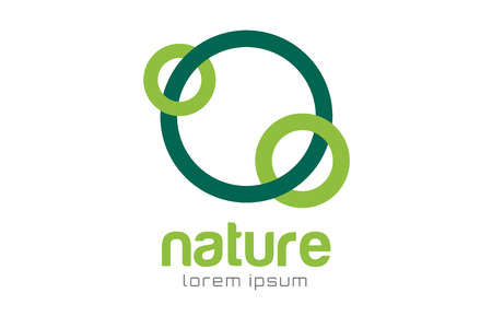 looped shape: Green nature care togetherness logo. Togettherness logo. Care and nature logo. Abstract flow logo template. Round ring shape and infinity loop symbol, thin line. Company logo design. Vector logo element.