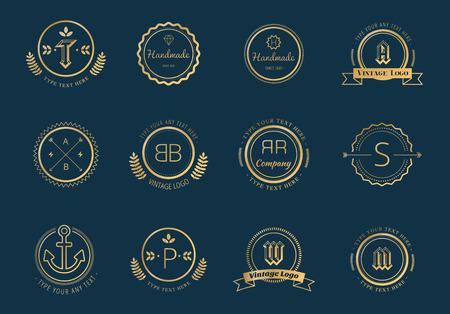 Massive logo badges template bundle. Logo set. Old style and modern flat icons. Vintage retro style. Arrows, labels, ribbons, decor, shield logo, knight logo, premium quality vector. Logo design. Retro style Illustration