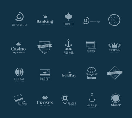 massive: Massive logo badges template bundle. Logo set. Old style and modern flat icons. Vintage retro style. Arrows, labels, ribbons, decor, shield logo, knight logo, premium quality vector. Logo design. Retro style Illustration