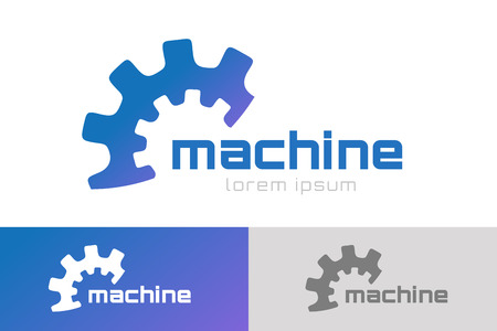 Gear vector logo icon template. Machine, progress, teamwork logo. Technology and techno shapes. Gear symbol. Teamwork vector logo. Teambuilding concept.