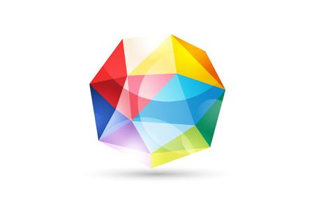 tetraedro: Abstract globe logo modello. Logo design Tetraedro. Logo simbolo icone di tecnologia. Forma 3d e globo simbolo, icona geometrico, modello a triangolo, le linee, web netto. Forma geometrica isolato su bianco