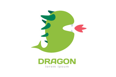 dragon fire: Cute dragon silhouette logo icon. Dragon logotype. Crocodile vector silhouette. Open mouth with fire. Fantasy character mascot. Comic hero.