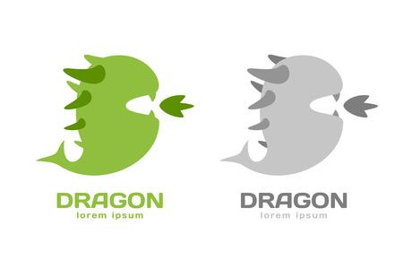 winged dragon: Cute dragon silhouette logo icon. Dragon logotype. Crocodile vector silhouette. Open mouth with fire. Fantasy character mascot. Comic hero.