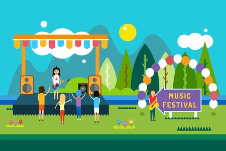 Muziekfestival outdoor illustratie. Landschap horizontaal. Abstracte mensen silhouet het afspelen van muziek. Lied en zingen, feesten en dj, musicus, overleg, mensen, plezier.