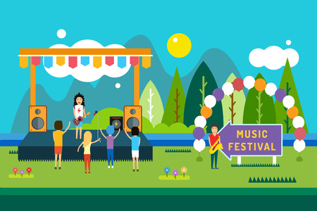 Music festival outdoor illustration. Landscape horizontal. Abstract people silhouette playing music. Song and sing, party and dj, musician, concert, people, fun.