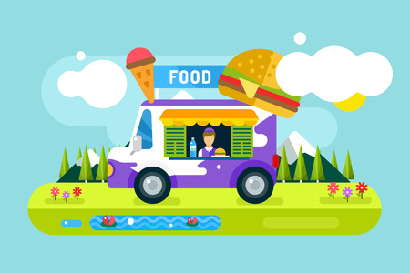 take out: Fast food restaurant car. Food festival outdoor landscape. Take out food. Food car, outdoor kitchen, water bottle, juice box, eating, ice cream, hamburger, hot dogs, fast food restaurant