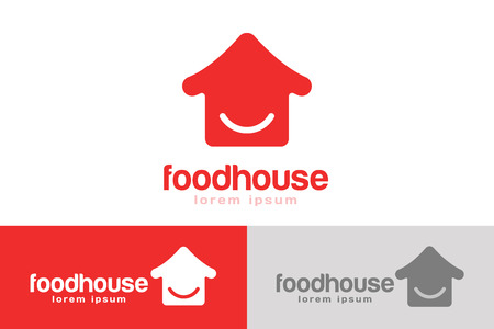 house logo: Chinese or japanese fast food restaurant silhouette. Chef logo. House logo icon template. Asian kitchen, home silhouette, cafe uilding, china or japan chef, fast food restaurant, sushi. Japanese food. Chinese food Illustration