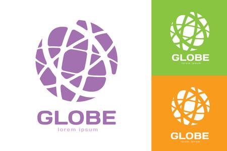 wereldbol: Vector abstract aarde cirkel logo design. Aarde logo. Globe logo icoon. Abstracte stroom logo template. Ronde ring vorm en oneindige lus symbool, technologie icoon, geometrische logo. Bedrijfslogo ontwerp