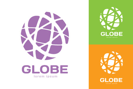 digital globe: Vector abstract earth circle logo design. Earth logo. Globe logo icon. Abstract flow logo template. Round ring shape and infinity loop symbol, technology icon, geometric logo. Company logo design