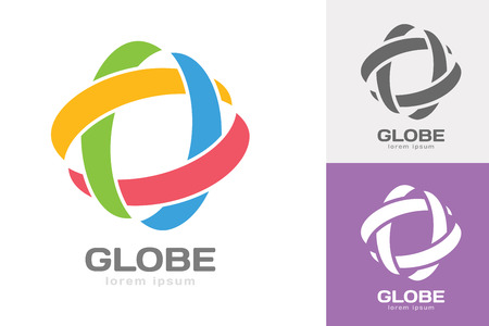 logo company: Technology orbit web rings logo. Vector circle ring logo design. Abstract flow logo template. Round ring shape and infinity loop symbol, technology icon, thin line logo. Company logo. Logo design. Vector logo element. Web logo. Orbit logo