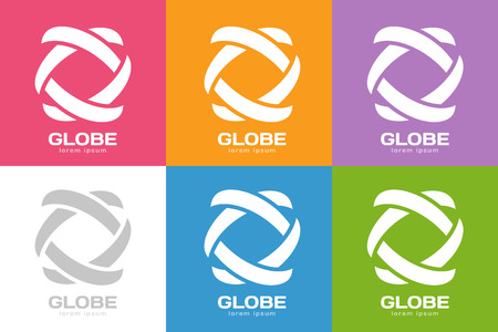 looped shape: Technology orbit web rings logo. Vector circle ring logo design. Abstract flow logo template. Round ring shape and infinity loop symbol, technology icon, thin line logo. Company logo. Logo design. Vector logo element. Web logo. Orbit logo