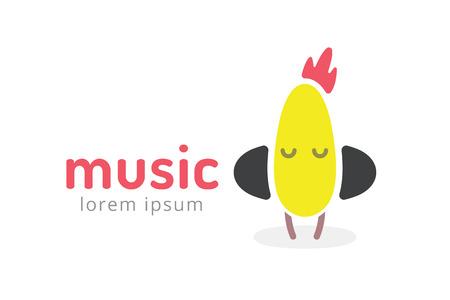 music logo: Cute chick silhouette logo icon. Chicken music studio logotype. Music icon vector silhouette. Headphones, radio, dj, party, listening. Animal character mascot. Music logo.