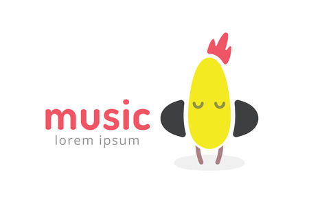 logo musique: Poussin mignon silhouette logo ic�ne. Musique de poulet de logotype studio. Musique ic�ne vecteur silhouette. Casque audio, radio, DJ, f�te, �coute. La mascotte de caract�re animal. Logo de Musique.