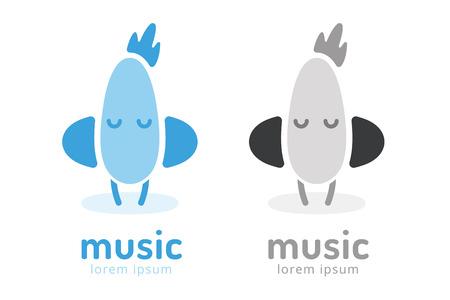 radio dj: Cute chick silhouette logo icon. Chicken music studio logotype. Music icon vector silhouette. Headphones, radio, dj, party, listening. Animal character mascot. Music logo.