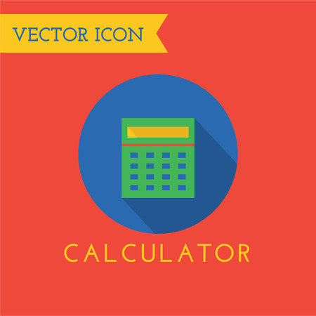 calculator icon: Green flat calculator logo icon. Money and finance. Back to school. Business, e-commerce, buttons and numbers, mathematics at school. Calculator icon. Calculator vector. Flat design