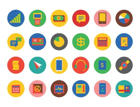 easy money: Business logo icons set. Money, technology, bank finance and online payment, easy to pay, payment and banking, headphone, backs or cash, shop, phone, mobile infographic. Money icons. Online shopping Stock Photo