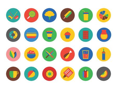 tiendas de comida: Iconos del alimento fijados. Fruta, cocina, comida y bebidas. Copa, la alimentación y el tenedor y la cuchara, verduras, olla y alimentos naturales, comida vegana. La leche, sopa, vino, sombrero del cocinero y la taza de café. Iconos del alimento