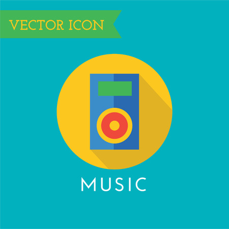 record studio: Music player icon. Sound, music tools and deejay on party or musician and song, record studio, label. Cd play, microphone, headphone volume, equalizer. Music . Music icon. Player object. Stock Photo