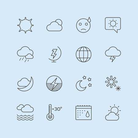 storm rain: Weather icons outline set. Moon, sky, wind cloud, umbrella and wind. Calendar  and weather forecast, snowflake, globe. App buttons
