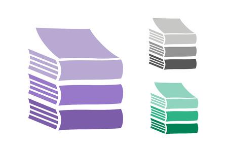 libros: Libros iconos conjunto. Venta de fondo. Volver a la escuela de fondo. Educación, Universidad, símbolo o conocimiento universitario, libros de pila, publicar, papel página. Iconos de libros aislados en blanco Vectores