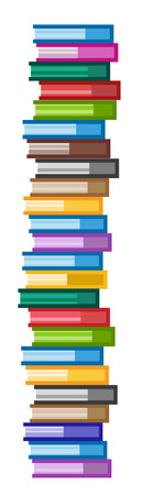 libro: Libros iconos conjunto. Venta de fondo. Volver a la escuela de fondo. Educación, Universidad, símbolo o conocimiento universitario, libros de pila, publicar, papel página. Iconos de libros aislados en blanco Vectores