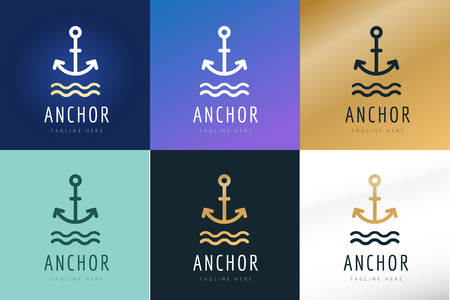 sailor: Anchor vector logo icons. Sea, sailor symbols. Anchor logo. Anchor icon. Anchor symbol, anchor tattoo. Vintage old style logo template. Retro style. Arrows, labels ribbons decor, premium quality